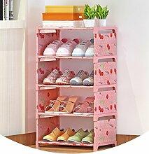 5 Tiers Schuh-Rack Schuh-Schrank Staub-proof Einfache Tuch-Tür-Aufbewahrungs-Schrank Organisieren (42 * 26 * 65cm / Rosa)