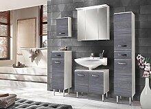 5-tlg. Badmöbel-Set in Hochglanz weiß, Tiefziehfronten in rauchsilber, Oberschrank, Unterschrank, Spiegelschrank, Waschbeckenunterschrank, Hochschrank