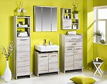 5-tlg. Badmöbel Set in Kalkeiche Nachbildung mit Hochschrank, Spiegelschrank, Waschbeckenunterschrank, Oberschrank und Highboard