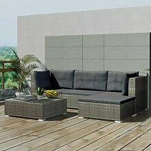 5-Tlg. Garten-Lounge-Set Mit Auflagen Poly Rattan