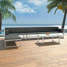5-tlg. Garten-Lounge-Set Textilene Aluminium