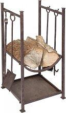 5-tlg. Kaminbesteck Set mit Holzablage Eisen braun H. 75cm Ambiente Haus (79,95 EUR / SET)