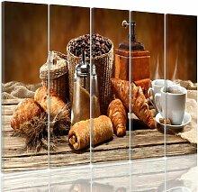 5-tlg. Leinwandbild-Set Französisches Frühstück