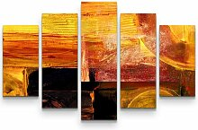 5-tlg.Leinwandbilder-SetAbstraktes warmes Bild