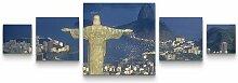 5-tlg.Leinwandbilder-SetChristus Statue in Rio