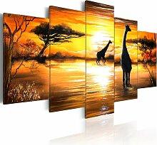 5-tlg. Leinwandbilder-Set Giraffen am Wasserloch