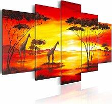 5-tlg. Leinwandbilder-Set Giraffen im Hintergrund