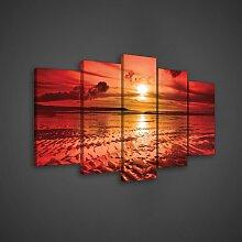 5-tlg. Leinwandbilder-Set Rot Sonnenuntergang