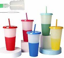 5 wiederverwendbare farbwechselnde Becher mit
