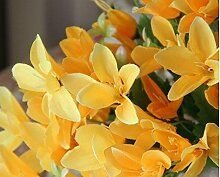 5 X 21 Knospen Kunstseide Simulation Pflanze Blume Lilie Blume Bunte Frei, 5 Blumensträuße Gelb