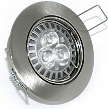 5 x High Power LED Einbauleuchte Strahler Jenny Farbe edelstahl-gebürstet 230V 5 Watt in Warmweiß
