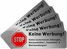 5 x Keine Werbung Aufkleber für Briefkasten (6,7