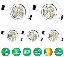 5 x Lu-Mi LED Einbaustrahler Flach 230V -