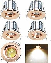 5 x Mini Rosen gold LED Einbaustrahler Schrank, Midore 5er Minispot Einbauleuchte Strahler Licht Set Alu 3W Leuchte Warmweiß