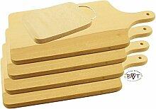 5 x Picknick Grill und robustes, grosses Picknick Holzbrett Buche mit abgerundeten Kanten, Maße viereckig je ca. 42 cm x 20 cm + 1x ca. 22x12 cm mit Edelstahl-Griff, als Servierbrett, Brotzeitbrett mit Griff, Naturholz - Rotbuche unbehandelt, Frühstücksbrettchen, Bayerisches Brotzeitbrettl mit Holzgriff, NEU robuste Schneidebretter, Anrichtebretter, Frühstücksbretter, Brotzeitbretter, Steakteller rustikal, Rindenbretter, Steakbrett Schinkenteller