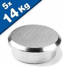 5 x Pinnwand Magnet aus Stahl Neodym - Ø 25 mm -