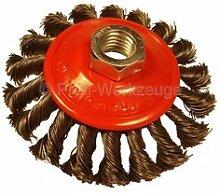 5 Zopfbürsten für Winkelschleifer, 100 mm, Stahldrahtbürste (rot)