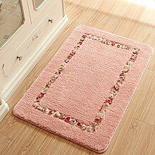 50 * 80cm Tür Eingang Veranda Matten-Matten-Matratzen Schlafzimmer Foyer Mats Badezimmer-Tür-Anti - Skid Mats Absorbent Teppich ( farbe : Pink )