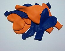 50 blau orange Herz-Luft-Ballons