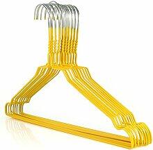 50 Drahtkleiderbügel verzinkt mit gelber Kunststoffbeschichtung, ca. 40,2 cm breit Hangerworld