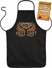 50 Geburtstag Grillschürze 50 Jahre Geschenk Grill Schürze Papa Freund Kochschürze Latzschürze Partyschürze Küche Schürze mit Urkunde: Original seit 1967