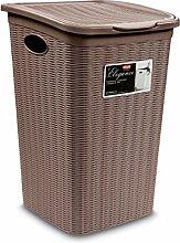 50 Liter Wäschekorb Wäschebox Wäschepuff Wäschesammler Wäschetruhe Wäschetonne im Rattan Look grau-braun