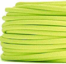 50 Meter   Textilkabel für Lampe, Stoffkabel 2-adrig (2x0,75mm²) * Made in Europe * Neon-Gelb