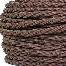 50 Meter   Textilkabel für Lampe, Stoffkabel, 3-adrig (3x0,75mm²)   Made in Europe   verseilt, geflochten, Braun (Dunkelbraun)