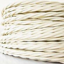 50 Meter   Textilkabel für Lampe, Stoffkabel, 3-adrig (3x0,75mm²)   Made in Europe   verseilt, geflochten, Elfenbein