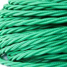 50 Meter   Textilkabel für Lampe, Stoffkabel, 3-adrig (3x0,75mm²)   Made in Europe   verseilt, geflochten, Grün