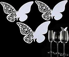 50Schmetterling Escort Weinglas Papier Karte für Hochzeit Party Pink Weiß