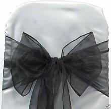 50 schwarze Organza Band und Schleife für Stuhlhussen, für Hochzeiten und Partys, Hochzeiten, Stuhlschleifen, Organza,