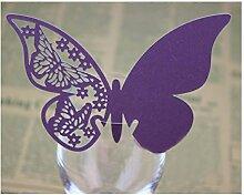 50 Stück 3D Schmetterlinge Tischkarten Platzkarten Namenskarten Hochzeit (lila)