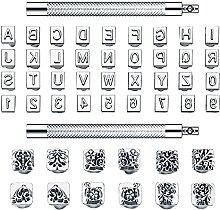50 Stück Buchstaben und Zahlen Stempel Set 0,32