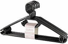 50 Stück in schwarz Sustania Kunststoff Kleiderbügel Wäschebügel mit antirutsch Rillen, Hosensteg und Krawattenhalter und Rockaufhängekerben