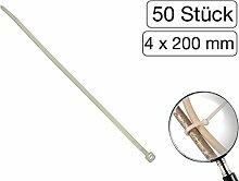 50 Stück Kabelbinder transparent 200 mm