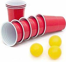 50 Stück Rote Partybecher Trinkbecher 16 oz Rote Beer Pong Party Cups Einwegbecher