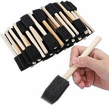50 Stück Schaumschwamm Holzgriff Pinsel Set