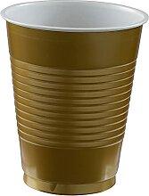 50 Trinkbecher Gold Plastik 473 ml