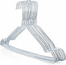 50 weiße Draht Kleiderbügel, 41cm breit, Drahtkleiderbügel, mit Einkerbungen Hangerworld