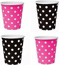 50 x Becher 200ml Dots (Schwarz, Pink) Punkte,