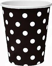 50 x Becher 230ml dots schwarz Punkte, Pappbecher,