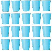 50 x Becher Hellblau Einwegbecher für Kaltgetränke und Heißgetränke aus Pappe umweltfreundlich, Hochzeit, Geburtstag, Kaffeebecher, Picknick, Garten, Party, Grillen