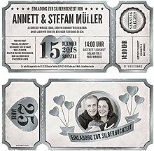 50 x Lasergeschnittene Silberhochzeit Einladungen