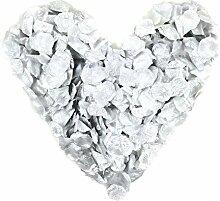 500 silber Rosenblätter, silberfarben, gepackt zu 5x100 Stück, glänzend - Jubiläum, Hochzeitsdeko, Taufe, Kommunion, Konfirmation, Valentinstag, Heiratsantrag, Streudeko, Romantisch, Basteln, künstliche Blütenblätter, Silberhochzeit, silberne Hochzei