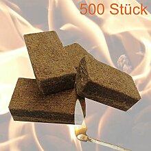 500 Stück Anzünder Grillanzünder Kaminanzünder Feueranzünder Anzündwürfel für Brennholz Kamin und Ofen