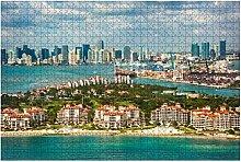 500 Teile-Luftbild von Miami Florida mit Fisher