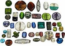 500g Glasperlen Mix Glas Perlen Nur Silberfolie