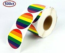500P Gay Pride Rainbow Aufkleber, 6Hell Farben