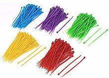 500Stk 3mmx100mm Netzwerk Kabel Schnur Draht Nylon Kabelbinder Sortiert Farben